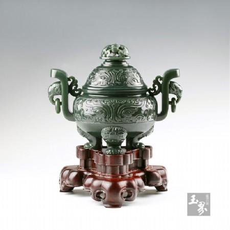 青玉-兽面纹天官炉