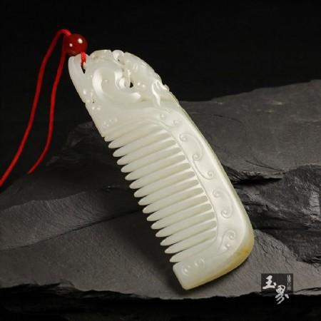 白玉子料-龙纹玉梳