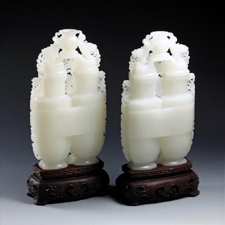 白玉子料-福壽連體雙瓶