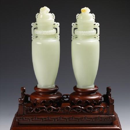 白玉子料-比翼同心雙瓶