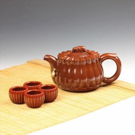 瑪瑙-鑲金菊花套壺