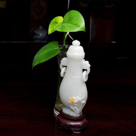 白玉籽料-蘭花瓶