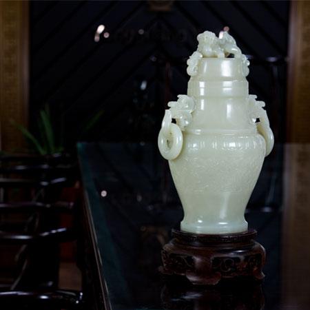 白玉籽料-鳳紋瓶