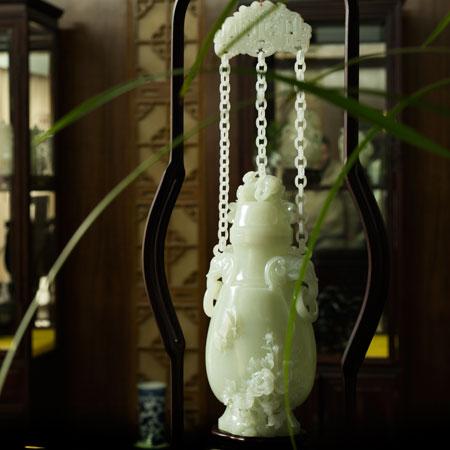 白玉籽料-花开富贵三链瓶