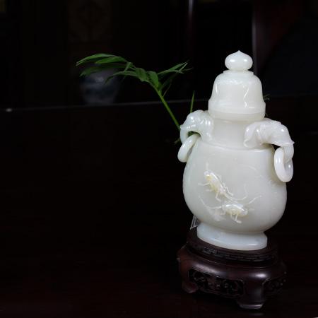 白玉籽料-蟋蟀瓶