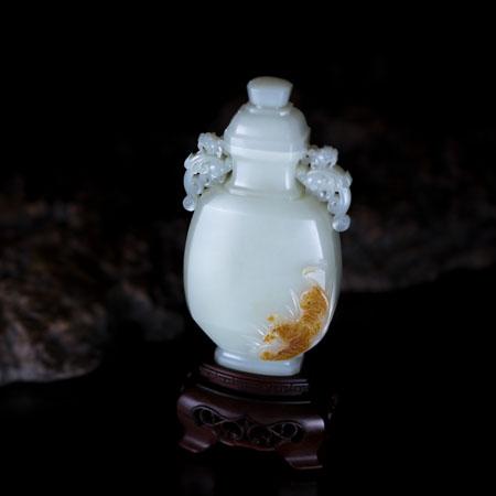 和田白玉籽-虎啸瓶