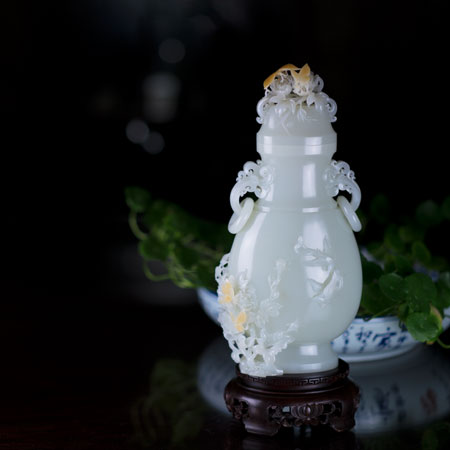和田白玉籽-长寿富贵瓶