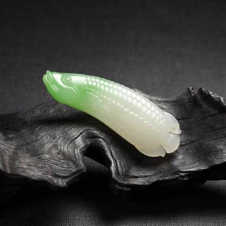 (翠青)白玉-龙鱼挂件