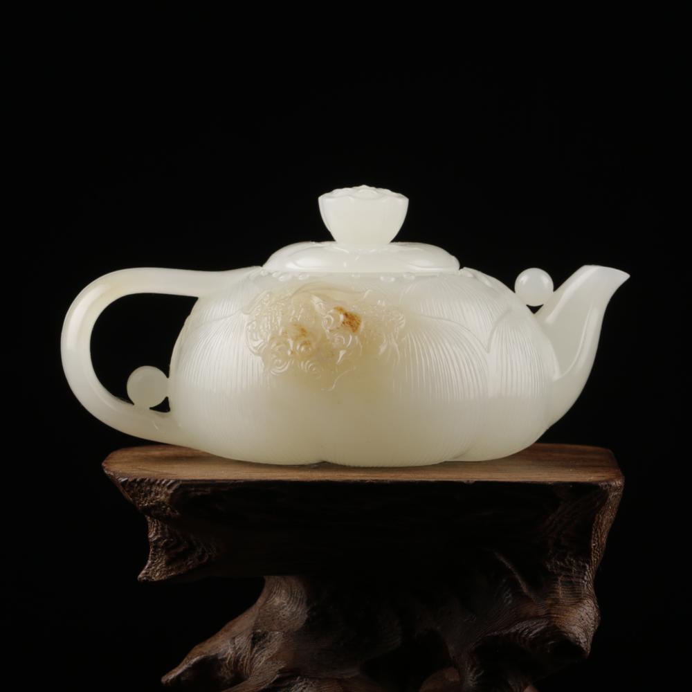 白玉子料-莲花茶壶