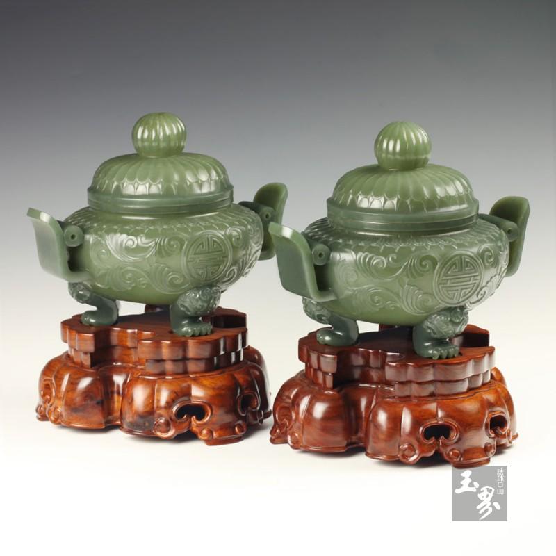 青玉-双耳天官薄胎炉