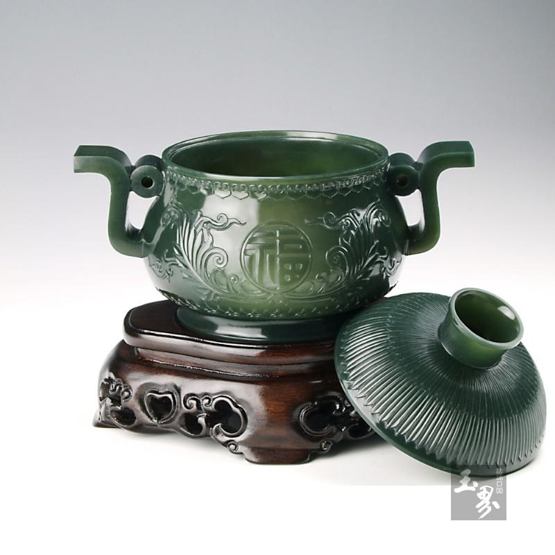 青玉-薄胎双耳福寿圆炉