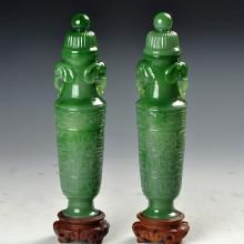 碧玉對瓶-龍鳳紋飾吉祥瓶
