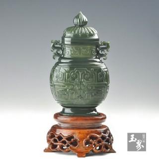 青玉-龍鳳紋飾薄胎瓶