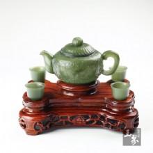 青玉-纏枝紋飾薄胎套壺