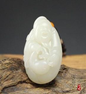 和田玉籽料挂件-财神