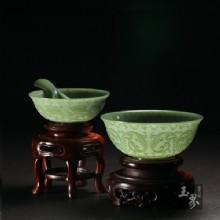 青玉-纏枝紋飾薄胎碗(兩只)