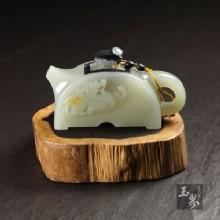 白玉子料-瓦當壺