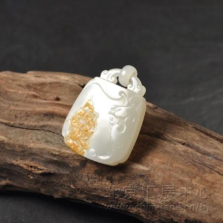 白玉籽料挂件-国色天香