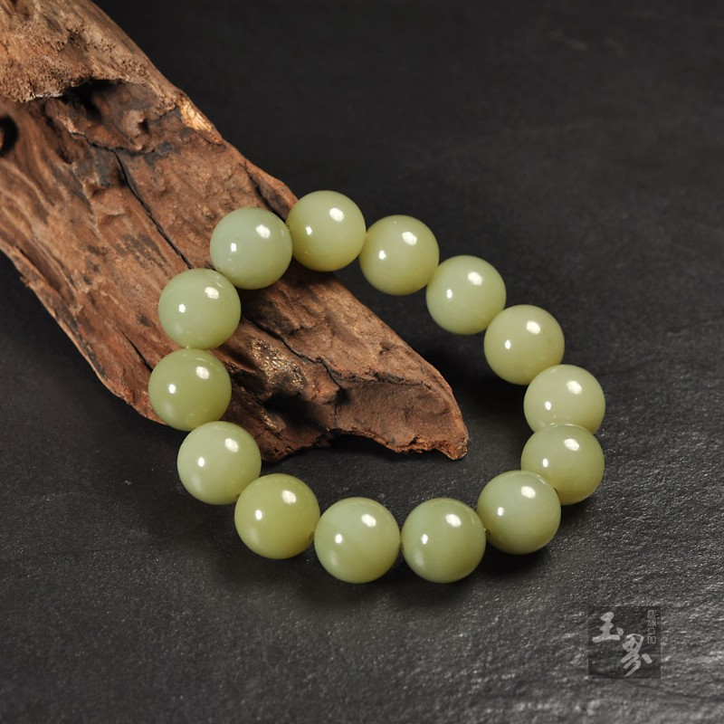 和田玉(黄口料)-圆珠手链