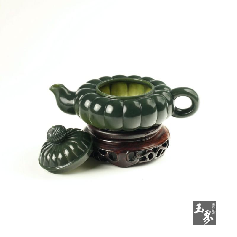 青玉-瓜瓣扁壶