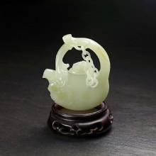 白玉子料-寿桃提梁把玩壶
