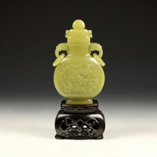 黄玉-双龙吉祥瓶