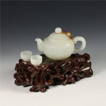 白玉-花卉紋飾把玩壺