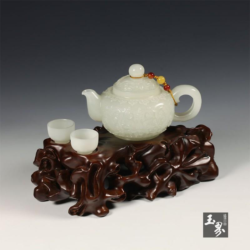 白玉-花卉纹饰把玩壶