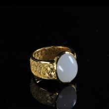 羊脂籽玉戒指