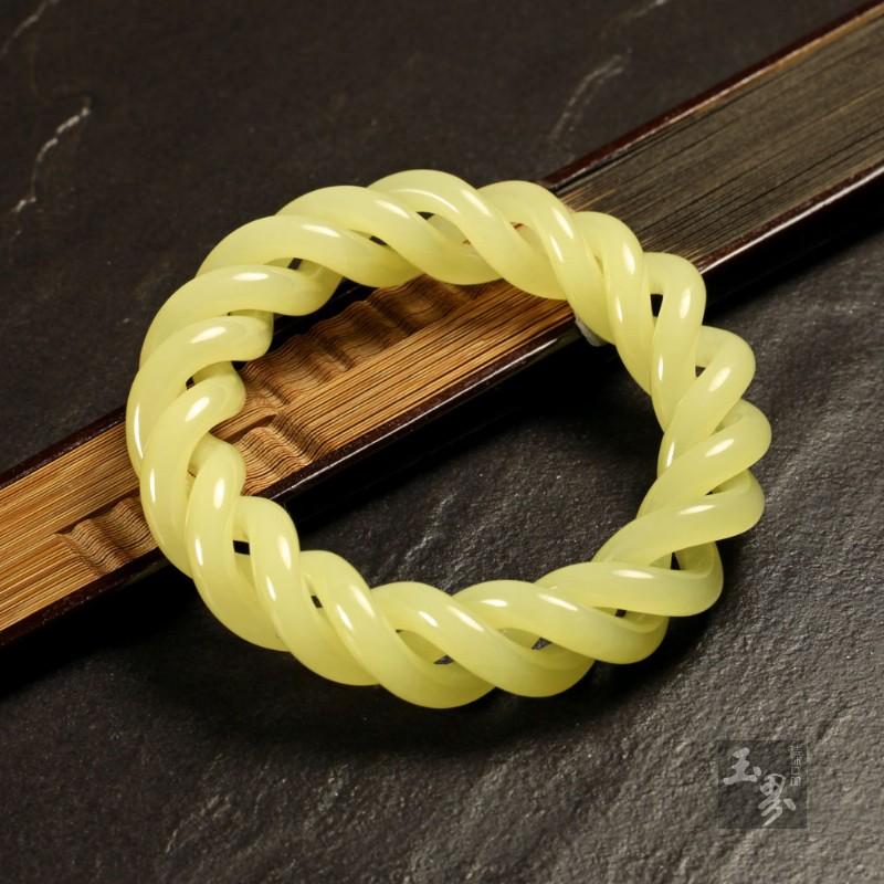 黄玉-镂空麻花手镯