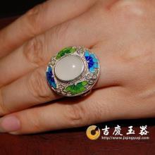 银镶玉掐丝珐琅戒指