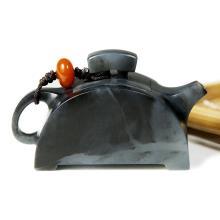 墨玉青花子料器皿-瓦当壶