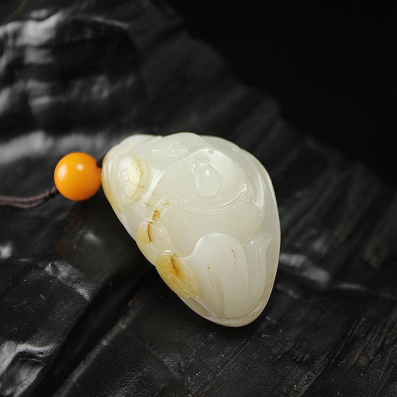 和田玉籽料-金蟾