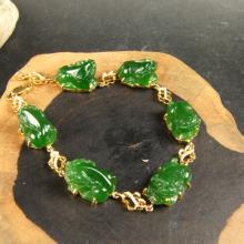 (18k金镶)碧玉-貔貅手链