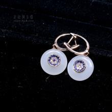 18K金镶玉和田玉钻石耳扣