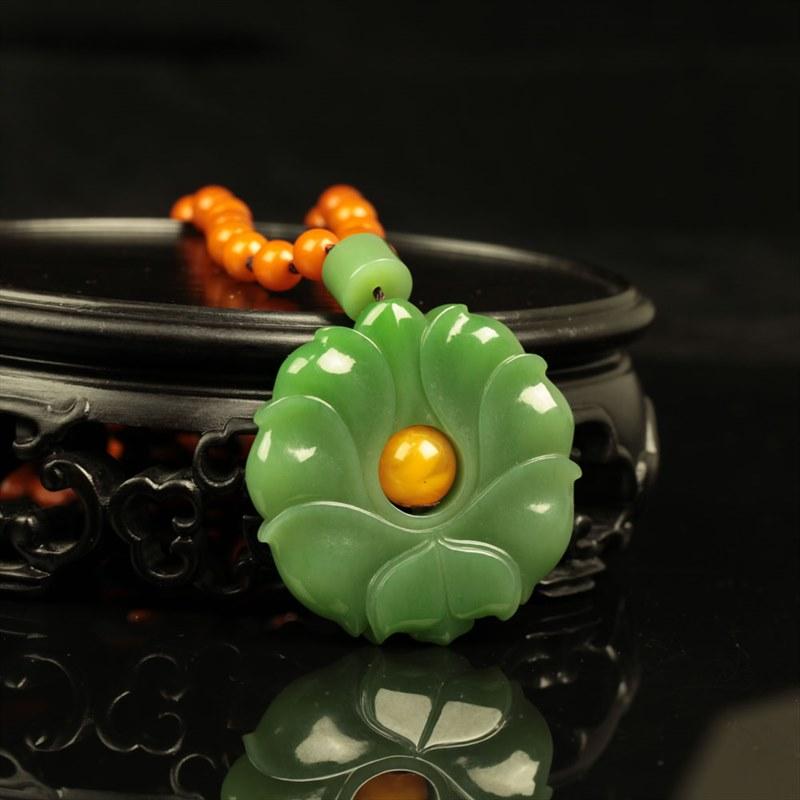 碧玉挂件-莲花