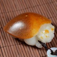 白玉籽料手把件 — 长寿龟