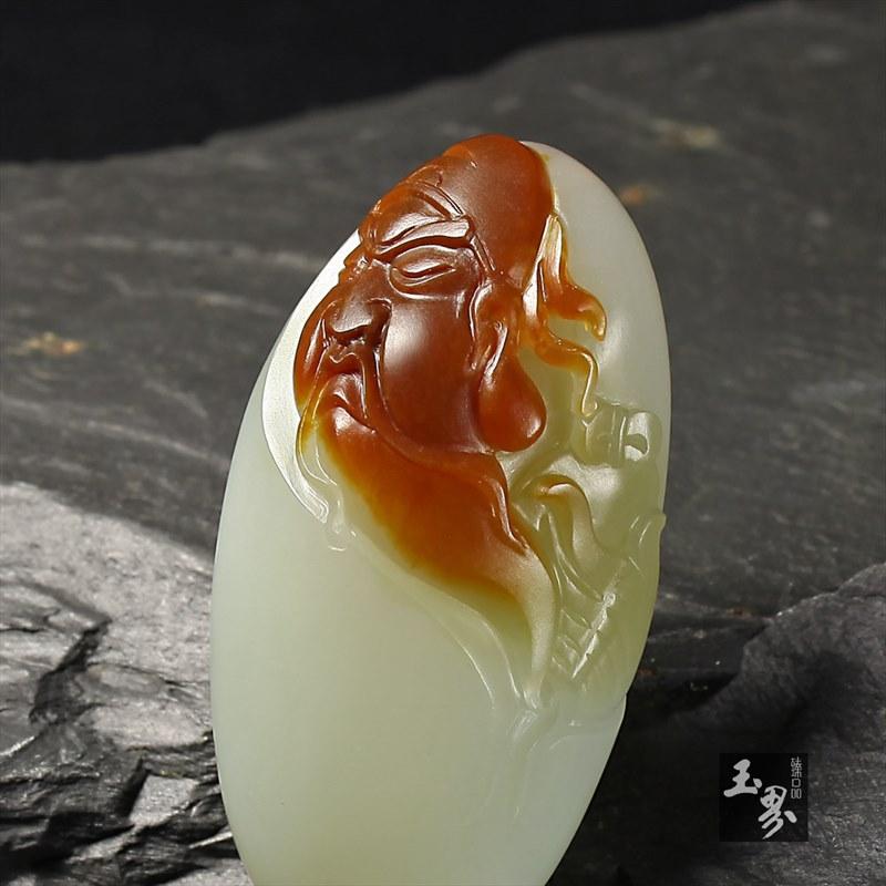 青白玉子料挂件-关公