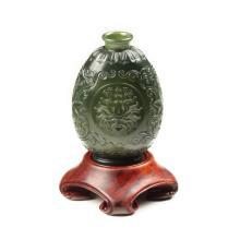 青玉-花卉纹饰薄胎瓶
