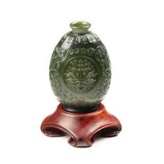 青玉-花卉紋飾薄胎瓶