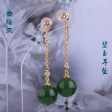 (18K金)碧玉耳坠