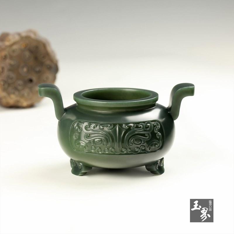 青玉-饕餮纹双耳香炉