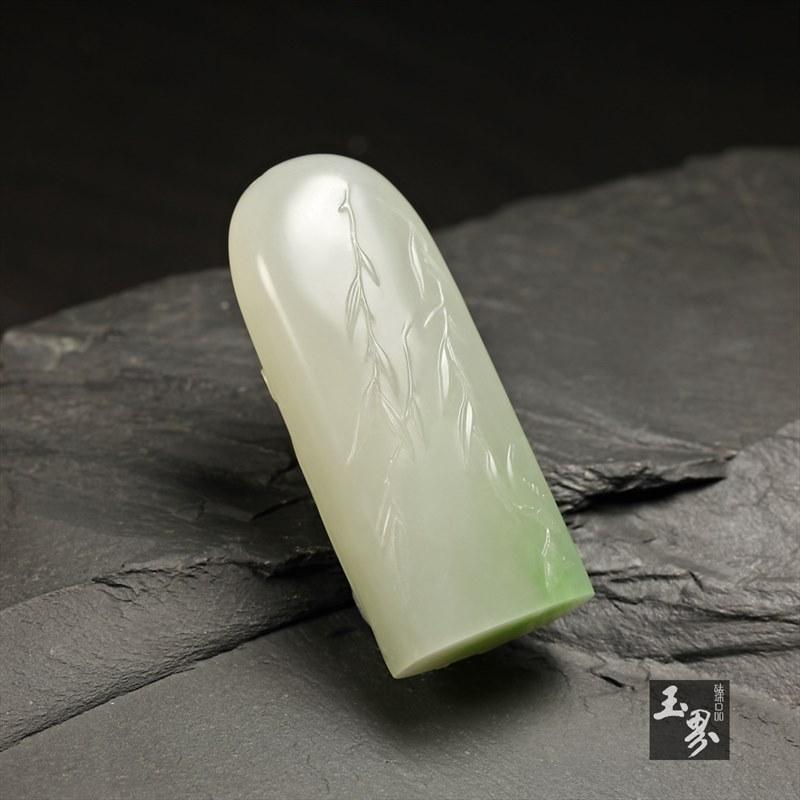 (翠青)白玉挂件-荷香溪绿-5
