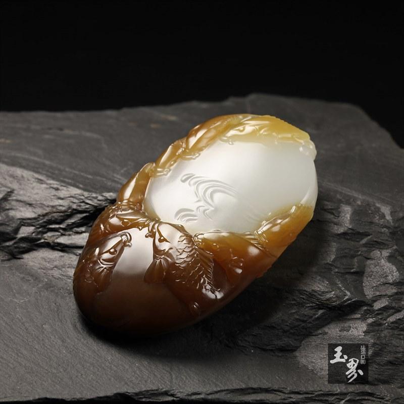 糖白玉挂件-九如图-5