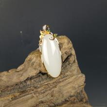 金玉良缘-18k黄金羊脂玉吊坠