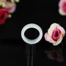 新疆天然正品和田玉白玉戒指 指环扳指 男款石玉情缘3.6g