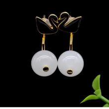 18K金鑲羊脂玉-耳環