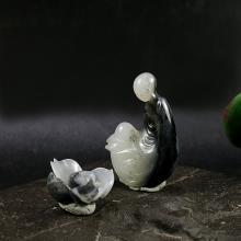 墨玉青花籽料擺件 禪靜若蓮