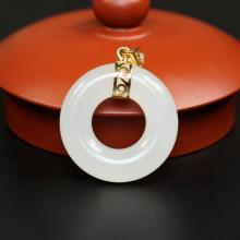 羊脂白玉-金镶平安环