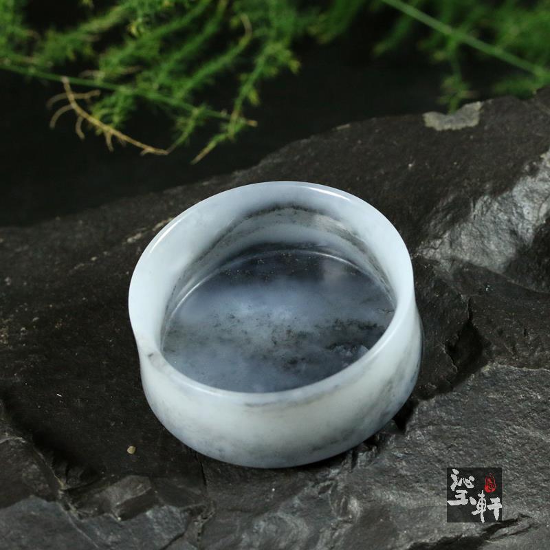 墨玉青花籽料器皿 茶盏